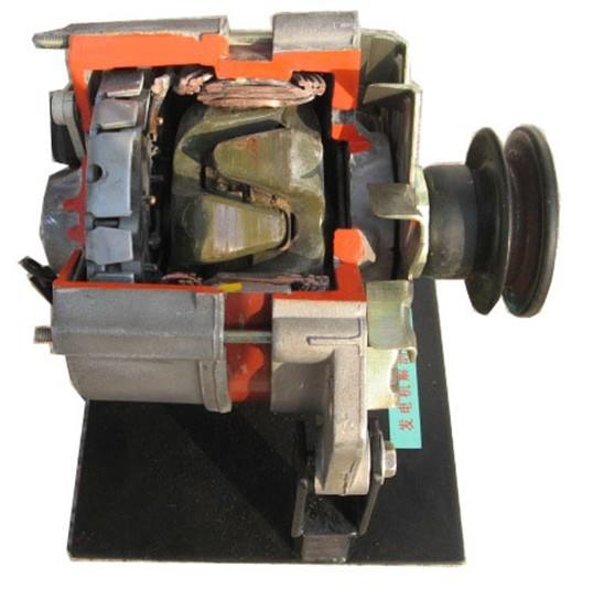 发电机解剖模型  (一)组成 发电机,支架、使用说明书。 (二)功能 1.适用于各层次汽车专业教学与实操。 2.完整的发电机外部以及内部零部件的展示及动态演示。 (三)工艺 采用了高强度的钢性材料焊接,表面经喷漆处理。 (四)实训项目 A.发电机结构与原理认识实训。 B.发电机各元器件结构与原理认识实训。 解剖系列实训设备