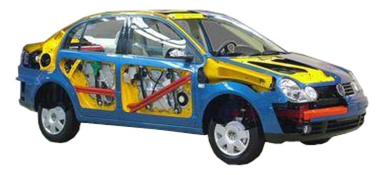 整车解剖模型 整车解剖模型简介 多功能解剖车选用桑塔纳2000为基础,可容易地看见发动机舱、车身侧围的构造结构、钢板的厚 度及独立悬挂的结构,甚至车轮的轮毂及轮胎的横截面。此外,车内方向盘、排挡杆、手刹、安全带固定装置及安全带卷等平时都被包裹严实的部件也被特别地一剖为二,内部工艺精度、构造清晰呈现,能够展示汽车各总成装置以及各附件位置。  (二)结构组成 桑塔纳2000轿车总成、电动机及附件等;配置教学资料,适用于汽车专业考核和培训。 (三)功能特点 1.主要总成剖示并以各种颜色区分并做防锈处理。 2.能